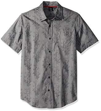 Burnside Men's Spinner Short Sleeve Button up Printed Shirt