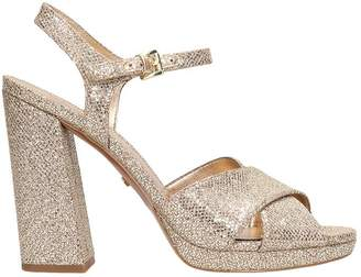 Michael Kors Glitter Leather Alexia Platform Sandals