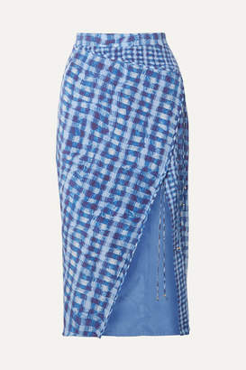 Altuzarra Cicero Wrap-effect Checked Silk Crepe De Chine Midi Skirt - Blue