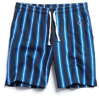 Todd Snyder + Champion Stripe Warm-Up Short in Navy