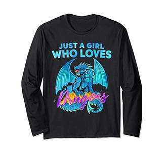 Dragon Optical Just A Girl Who Loves Dragons Watercolor Art Long Sleeve T-Shirt