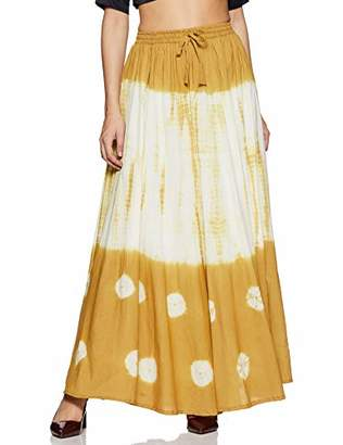 Habiller Women's Cotton Floor Touch Gypsy Skirt Yellow Tie-Dye 25 Yards Skirt~SKT501-YEL ()