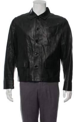 John Varvatos Button-Up Leather Jacket black Button-Up Leather Jacket
