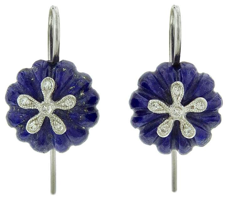 Cathy Waterman Lapis Daisy Bead Earrings - Platinum