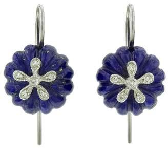 Cathy Waterman Lapis Daisy Bead Earrings - Platinum