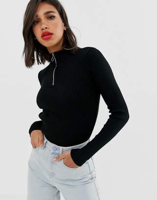 Asos Design DESIGN rib knit sweater with zip detail