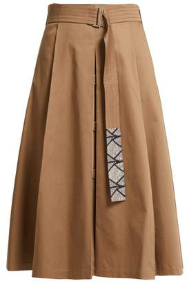 Max Mara S Nuoro Pleated Cotton Skirt - Womens - Tan