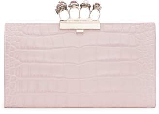 Alexander McQueen Four-Ring Knuckle Clasp Croc Embossed Leather Clutch