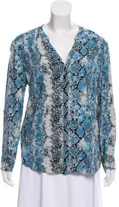 Soft Joie Snakeskin Print Button-Up Top