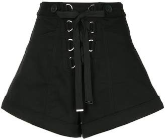 Self-Portrait lace-up wide leg shorts