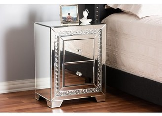 Baxton Studio Mina Modern and Contemporary Hollywood Regency Glamour Style Mirrored 2-Drawer Nightstand Bedside Table