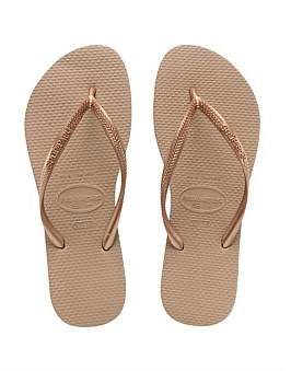 0dd3f5becd26b5 at David Jones. Havaianas Slim Metallic Rose Gold