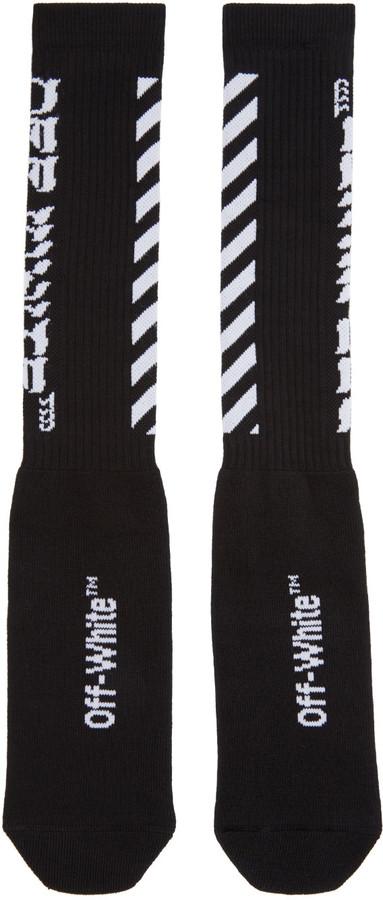Off-White Black Diagonal Logo Socks