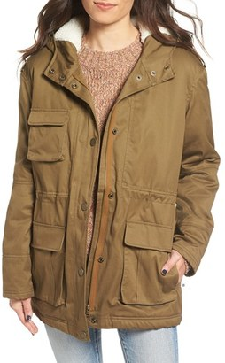 Roxy Aleho Hooded Cotton Jacket with Faux Shearling Trim $99.50 thestylecure.com