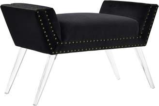 Linon Allie Black Vanity Acrylic Leg Bench