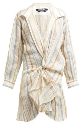 Jacquemus Alassio Knotted Cotton Blend Shirt Dress - Womens - Beige Multi