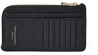 Aspinal of London Large Zipped Coin Purse In Black Pebble