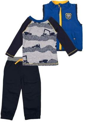 Little Rebels Vest, Long Sleeve T-shirt & Jogger Pants, 3pc Outfit Set (Baby Boys & Toddler Boys)