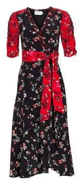 Tanya Taylor Blaire Floral Silk Wrap Dress