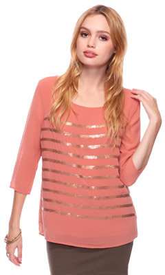 Sequin Stripes Chiffon Top
