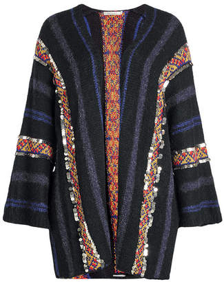 Mes Demoiselles Embellished Cardigan with Wool, Alpaca and Cotton