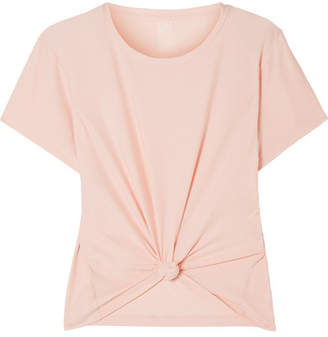 We/Me - The Foundation Cropped Knotted Stretch-jersey T-shirt - Blush