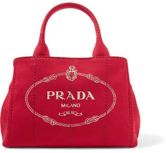 Prada Giardiniera Printed Canvas Tote - Red