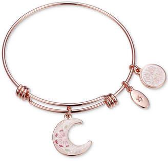 "Unwritten Stay Wild Moon Child"" Enamel Moon Adjustable Bangle Bracelet in Rose Gold-Tone Stainless Steel"