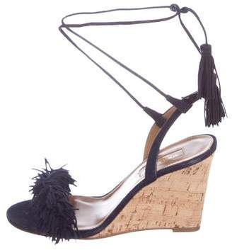 Aquazzura Suede Wrap-Around Wedges