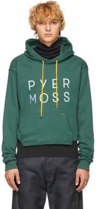 Pyer Moss Green Cropped Logo Hoodie
