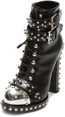 Alexander McQueen Studded Lace-Up Buckle Booties, Black