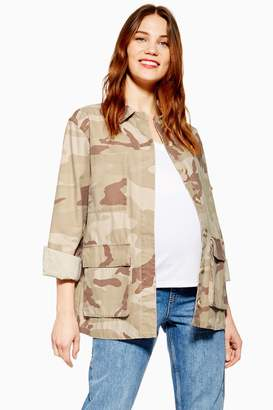 Topshop Womens **Maternity Sand Camo Shacket - Off White