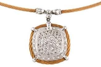 Charriol White Sapphire & Diamond Classique Square Pendant Necklace