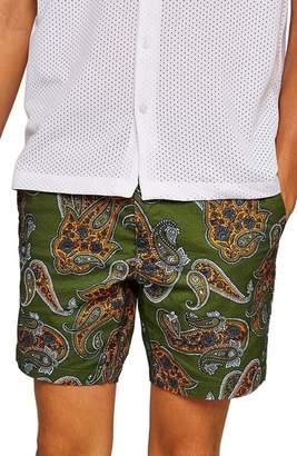 Topman Slim Fir Paisley Print Shorts