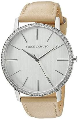 Vince Camuto Women's VC/5327SVTN Swarovski Crystal Accented Tan Leather Strap Watch