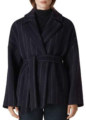Whistles Striped Wrap Coat