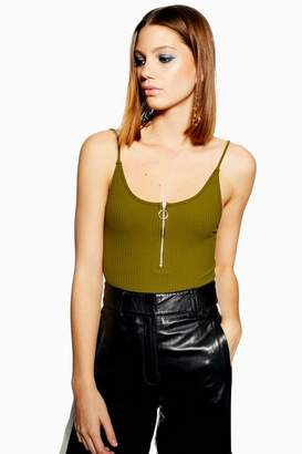 Topshop Womens Zip Plunge Bodysuit