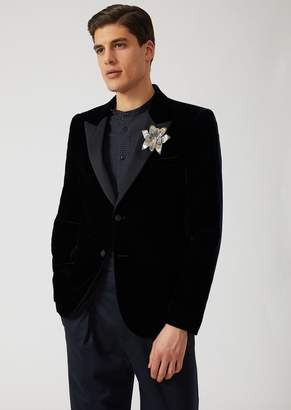 Emporio Armani Single-Breasted Dinner Jacket In Velvet With Flower Brooch