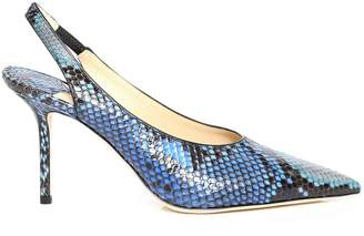 Jimmy Choo IVY 85 Sky Mix Degrade Painted Python Slingback Heel