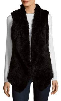 Saks Fifth Avenue Asymmetrical Rabbit Fur Vest
