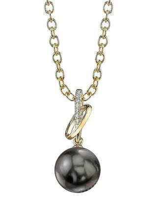 Loren The Pearl Source 14K Gold Tahitian South Sea Cultured Pearl & Diamond Pendant