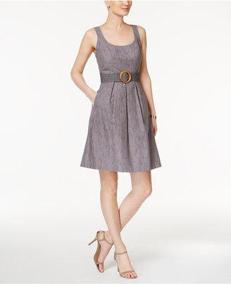 Nine West Belted Burnout Fit & Flare Dress $79 thestylecure.com