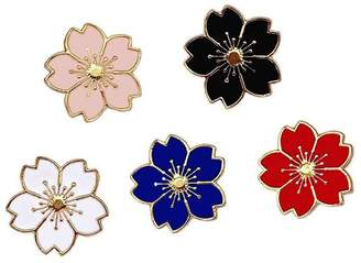Winzik Lapel Pins Set 5pcs Sakura Flowers Enamel-liked Brooch Pins
