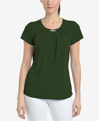 NY Collection Pleated Metallic-Hardware Top, a Macy's Exclusive