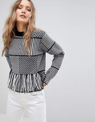Lavand Patchwork Sweater With Fringe Hem
