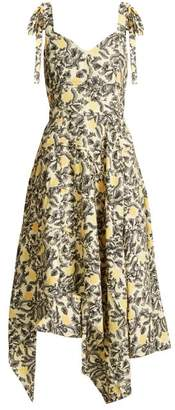 Proenza Schouler Tie Shoulder Floral Print Crepe Dress - Womens - Yellow Print
