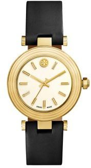 Tory Burch Tory Burch Classic T Goldtone Stainless Steel & Leather Strap Watch