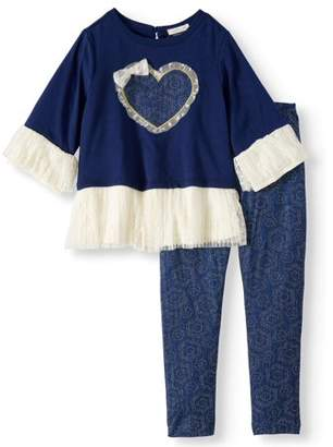 FOREVER ME Lace Peplum Bell Sleeve Top and Legging, 2-Piece Outfit Set (Little Girls)