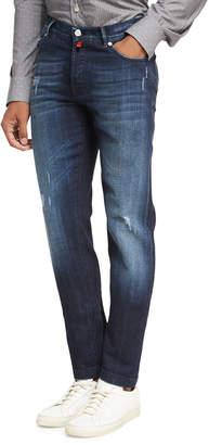 Kiton Distressed Denim Straight-Leg Jeans
