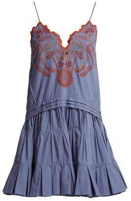 Chloé - Broderie Anglaise Cotton Camisole Dress - Womens - Blue